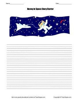 Primary Picture Story Starter Bunny in Space