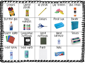 Primary Picture Supply List