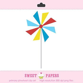 Primary Pinwheel Digital Clip Art Element - by Sweet Papers