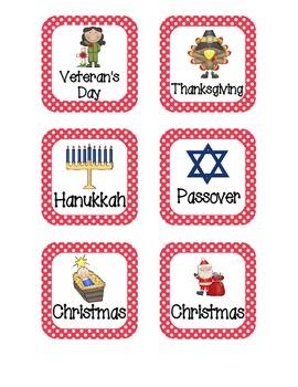 Primary Polka Dot Holiday Calendar Pieces