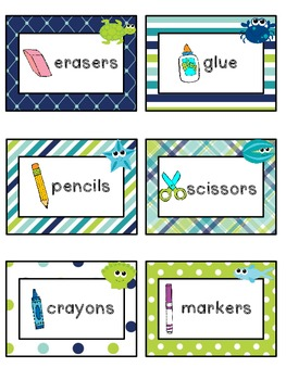 Ocean Theme Classroom Supply Labels
