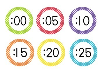 Primary Polka Dot Clock Numbers