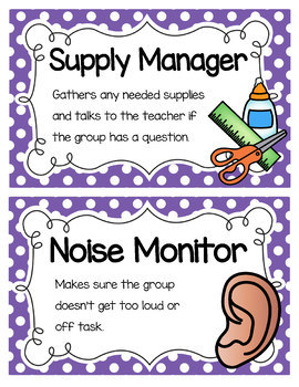 Primary Polka Dot Cooperative Group Roles- Posters and Student Tags
