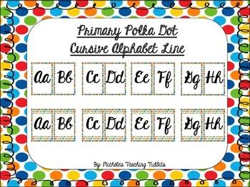 Primary Polka Dot Cursive Alphabet Line