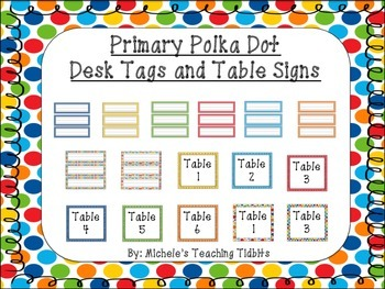 Primary Polka Dot Desk Tags and Table Signs