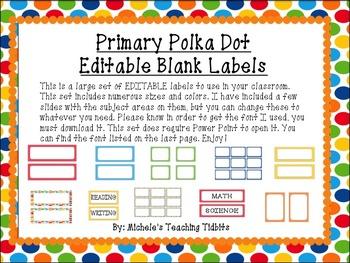 Primary Polka Dot EDITABLE Label and Tag Set