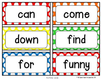 Primary Polka Dot High Frequency Word Wall Words * Editable *