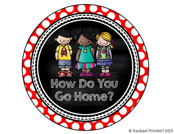 "Primary Polka Dot ""How Do You Get Home?"" Clip Chart"