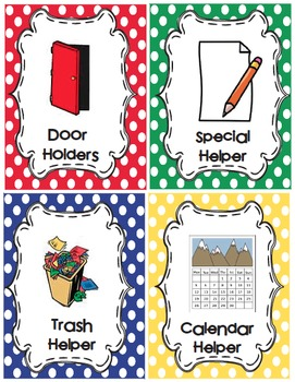 Classroom Job Cards and Word Wall Cards-Primary Dots