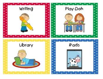 Primary Polka Dot Literacy Station/Center Cards