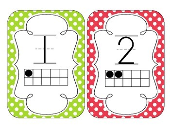 Primary Polka Dot Number Cards 1-20
