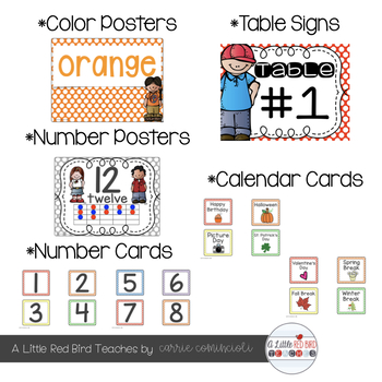Primary Polka Dot Theme Classroom Decor {Editable}