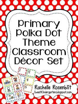 Primary Polka Dot Theme Classroom Decor Set