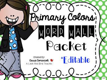 Primary Polka Dot Word Wall Packet {Editable}