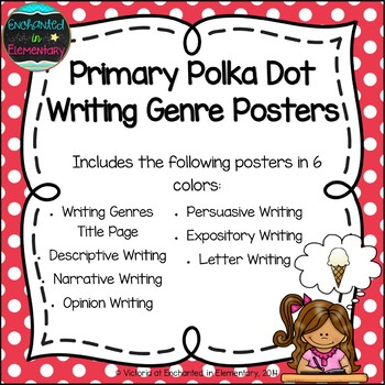 Primary Polka Dot Writing Genre Posters