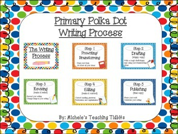Primary Polka Dot Writing Process Posters