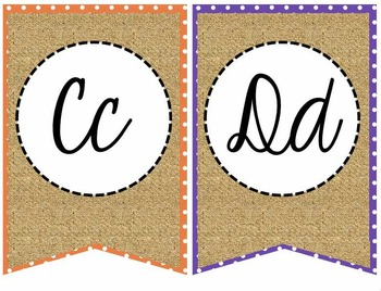 Primary Polka Dot and Burlap Cursive Alphabet Banner