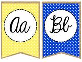 Primary Polka Dot and Burlap Cursive Alphabet Banner