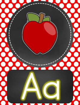 Primary Polka Dot with Chalkboard Flair  Alphabet Posters