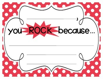 """Primary Polka Dot """"you ROCK because..."""" Student Recognition Signs"""