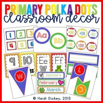 Primary Polka Dots Classroom Decor