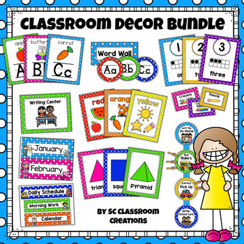 Primary Polka Dots Classroom Decor Set (Mega Bundle) by SC Classroom ...