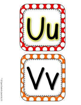 Primary Polka Dots  Word Wall Headers