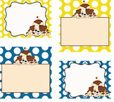 Primary Polka Dots and Puppy Classroom Labels and Tags {Editable}