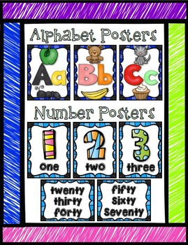 Primary Poster Pack {Numbers, Alphabet, Colours, Shapes, Days and Months}