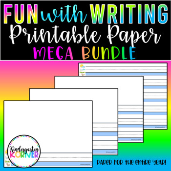 Primary Printable Writing Paper Journal Writing Centers 20 p Kindergarten 1st