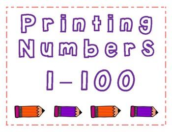 Primary Number Printing Packet 1-100