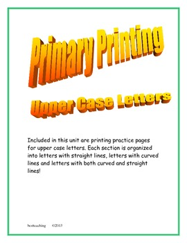 Primary Printing Upper Case Letters