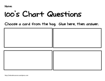 Primary Problem Solving Cards - 100's Chart