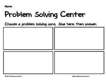 Primary Problem Solving Cards