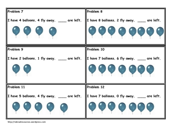 Primary Problem Solving Cards - Subtraction
