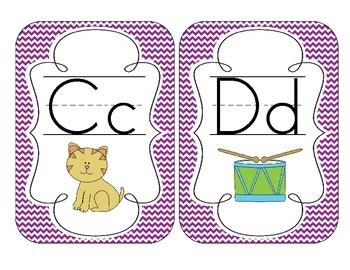 Primary Purple Chevron Alphabet Cards