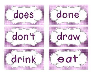 Primary Purple Chevron Word Wall Cards