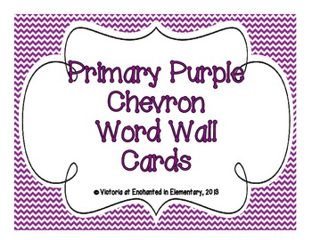 Primary Purple Chevron Word Wall Cards