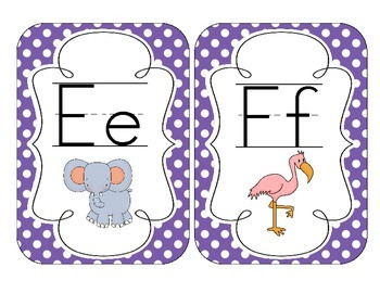Primary Purple Polka Dot Alphabet Cards