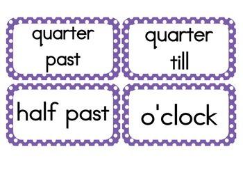 Primary Purple Polka Dot Clock Numbers