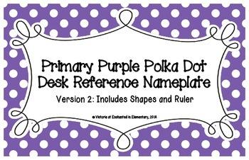 Primary Purple Polka Dot Desk Reference Nameplates Version 2