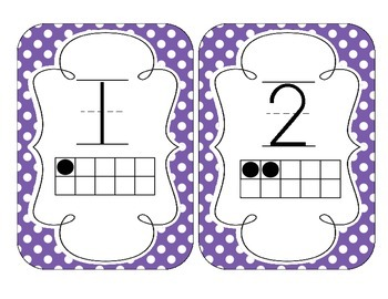 Primary Purple Polka Dot Number Cards 1-20
