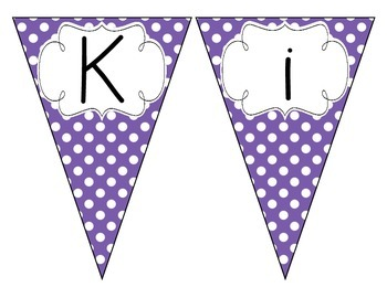 Primary Purple Polka Dot Welcome Pennant