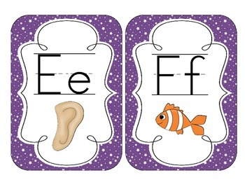 Primary Purple Starry Skies Alphabet Cards