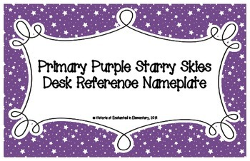 Primary Purple Starry Skies Desk Reference Nameplates