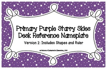 Primary Purple Starry Skies Desk Reference Nameplates Version 2