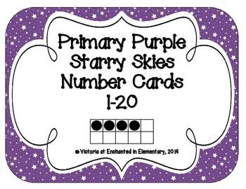 Primary Purple Starry Skies Number Cards 1-20