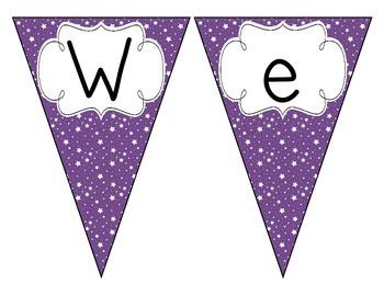 Primary Purple Starry Skies Welcome Pennant