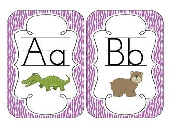 Primary Purple Zebra Print Alphabet Cards