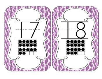 Primary Purple Zebra Print Number Cards 1-20